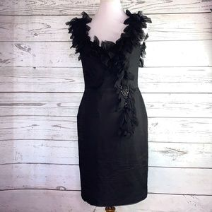 JS Collections silk ruffle beaded cocktail dress 6